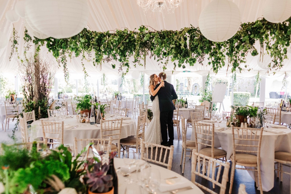 Hanging foliage canopy, Parley manor marquee, foliage wedding, rustic, wild, pampas grass, dorset wedding florist