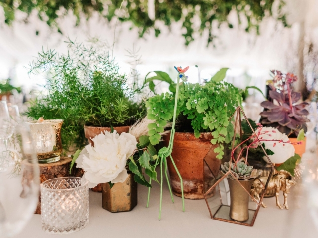 Plants, foliage, ferns, succulents, tea lights, candles, peony, geometric, eclectic table centrepiece parley manor, marquee wedding, florist, flowers