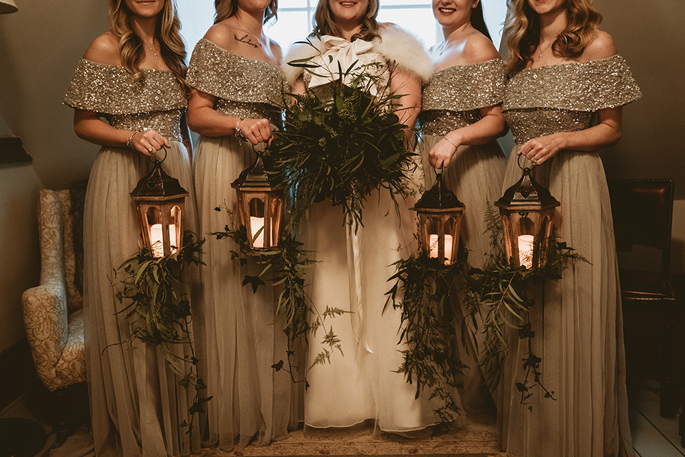 Lantern bridesmaids bouquet, wedding lantern, foliage bouquet, bridal bouquet, winter wedding, Christmas wedding, Dorset Hampshire, wedding florist, wedding flowers