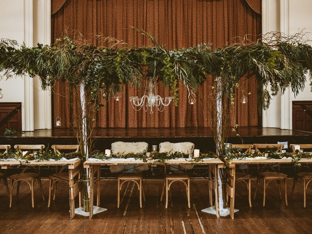 Foliage, hanging foliage, foliage installation, winter wedding, foliage canopy, tablescapes, fairy lights,  Herrison Hall, dorset, hampshire, wedding flowers, wedding florist