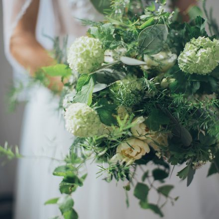 Textured foliage rustic bouquet spring flowers greens and whites