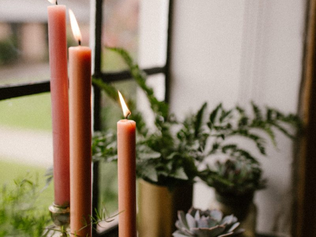 candlestick peach candles succulents ferns gold