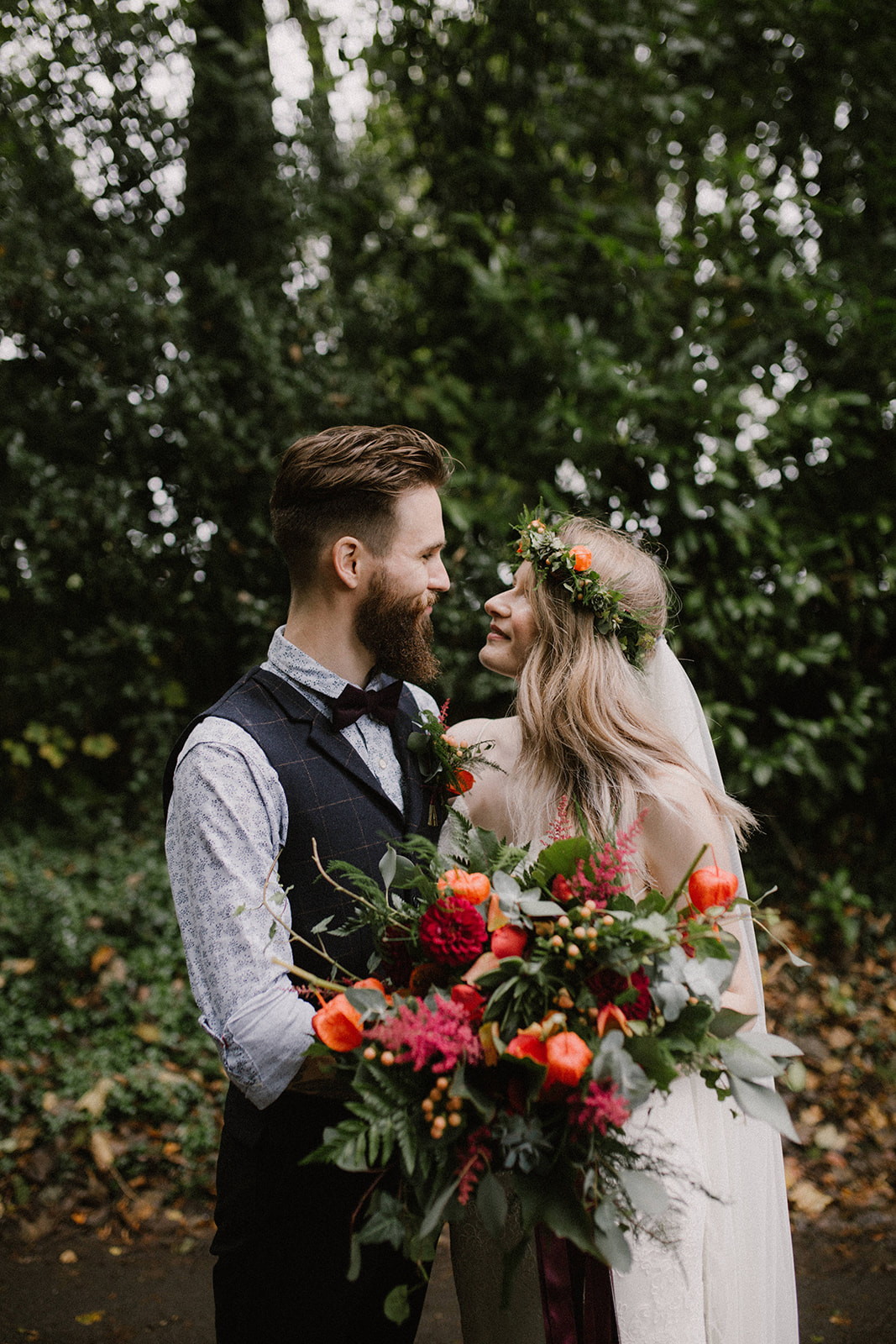 Bride and groom shot, we siad yes, burley manor wedding, autumn, bouquet, foliage, Chinese lantern, boho bride floral crown, dorset, hampshire, new forest, flowers florist