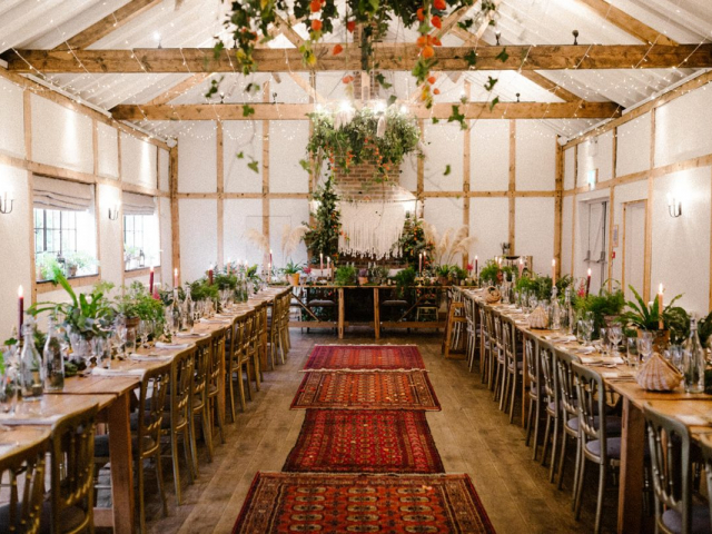 top table banquet style tablescape boho wedding woodland ferns plants macrame arch pampas grass burley manor newforest dorset hapshire