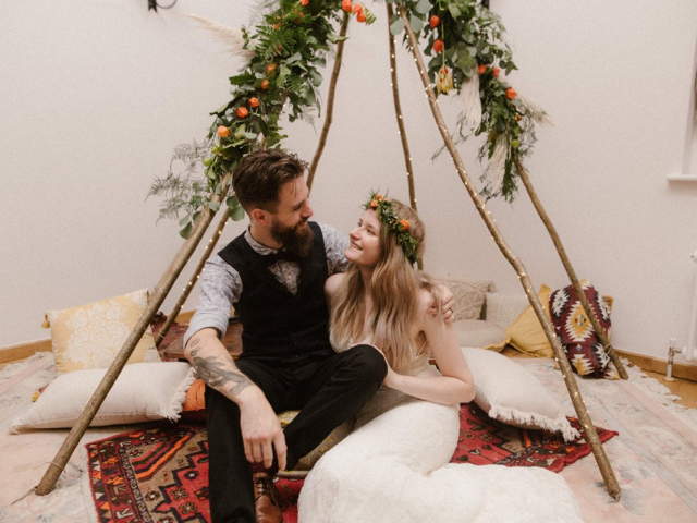boho rugs tipi foliage woodland wedding chinese lantern pampas grass bride and groom burley manor new forest dorset hampshire flowers florist