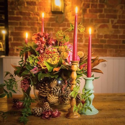 Sopley mill pine cone rustic autumn short table centrepiece