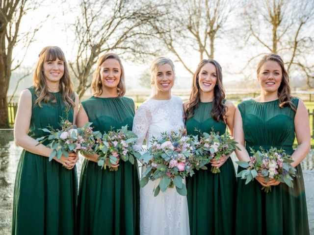 bride and bridesmaids winter wedding flowers florist bouquet dorset sopley mill
