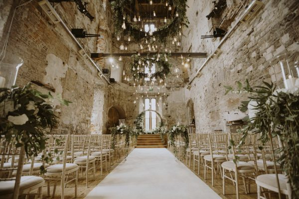 Moongate pampas grass green and white flowers, ceremony flowers, lulworth castle dorset florist