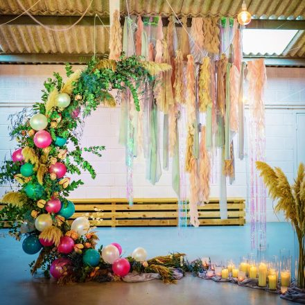hanging fabric wedding ceremony ideas hanging installation moongate festival wedding ideas balloons